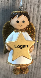 Personalised Name Christmas Angel - Silver or Gold Xmas Tree Decorations - Logan
