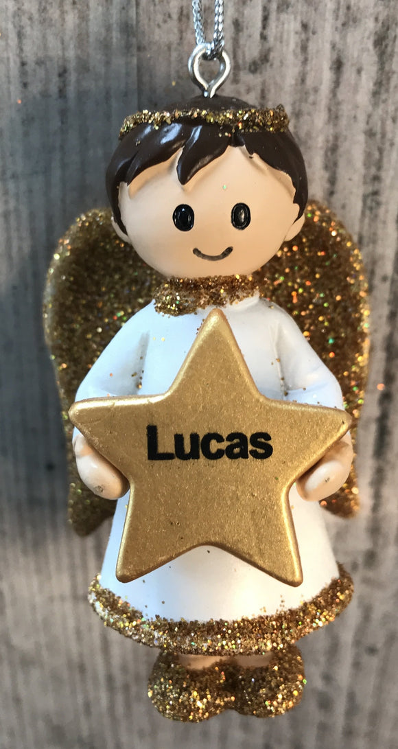 Personalised Name Christmas Angel - Silver or Gold Xmas Tree Decorations - Lucas