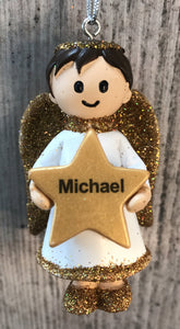 Personalised Name Christmas Angel - Silver or Gold Xmas Tree Decorations - Michael