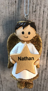 Personalised Name Christmas Angel - Silver or Gold Xmas Tree Decorations - Nathan