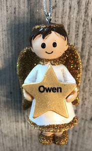 Personalised Name Christmas Angel - Silver or Gold Xmas Tree Decorations - Owen