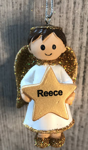Personalised Name Christmas Angel - Silver or Gold Xmas Tree Decorations - Reece