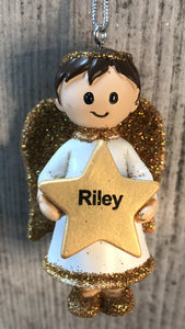 Personalised Name Christmas Angel - Silver or Gold Xmas Tree Decorations - Riley