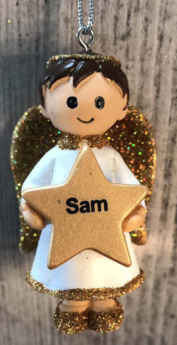 Personalised Name Christmas Angel - Silver or Gold Xmas Tree Decorations - Sam