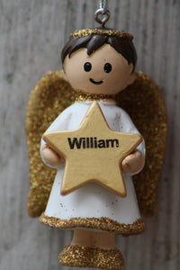 Personalised Name Christmas Angel - Silver or Gold Xmas Tree Decorations - William