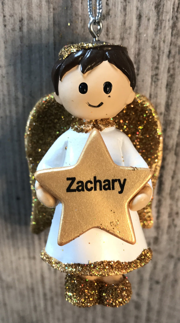 Personalised Name Christmas Angel - Silver or Gold Xmas Tree Decorations - Zachary