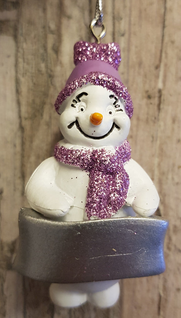 Cute Personalised Snowman Christmas Tree Decoration - Any Name or Phrase - Purple Design