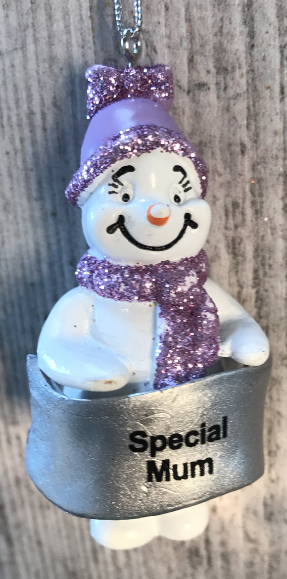 Cute Personalised Snowman Christmas Tree Decoration - Special Mum