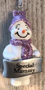 Cute Personalised Snowman Christmas Tree Decoration - Special Mummy