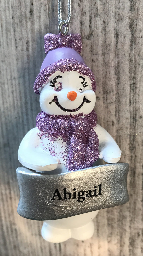 Cute Personalised Snowman Christmas Tree Decoration - Abigail