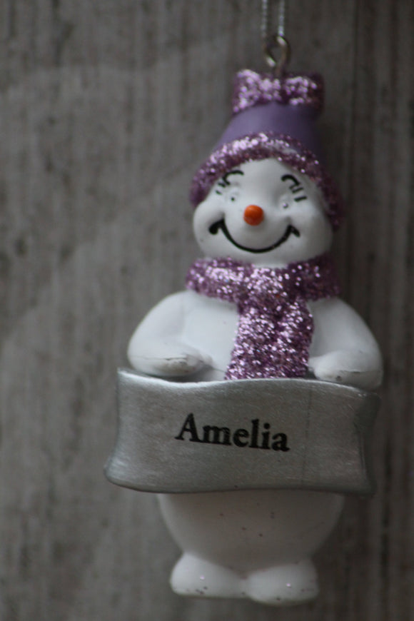 Cute Personalised Snowman Christmas Tree Decoration - Amelia