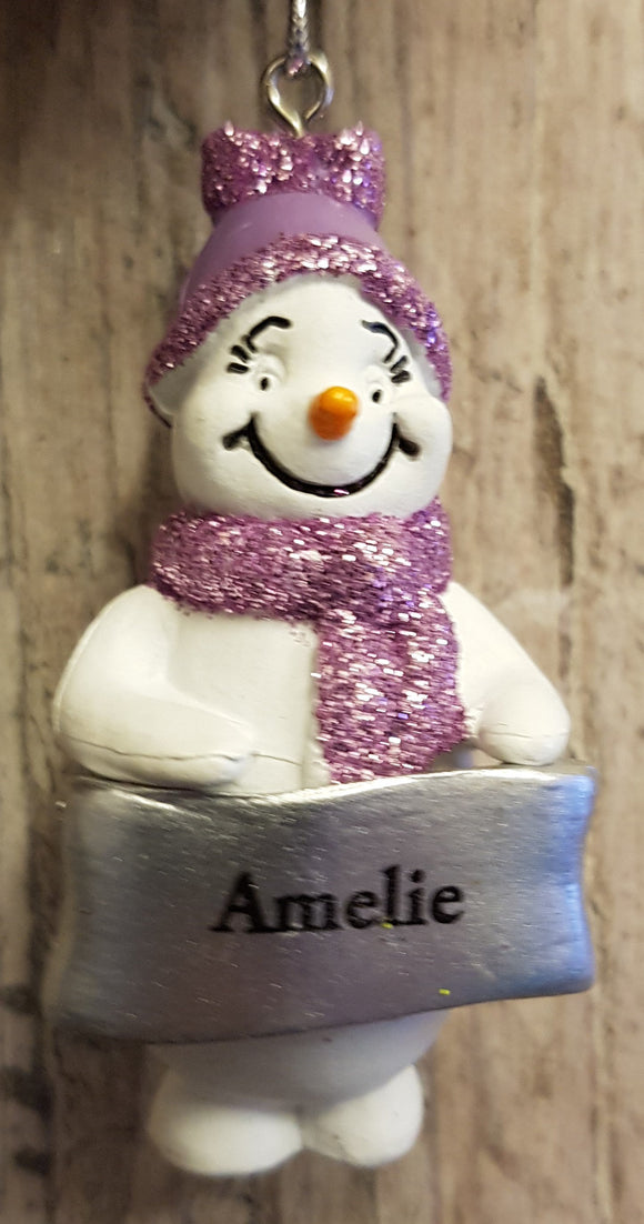 Cute Personalised Snowman Christmas Tree Decoration - Amelie