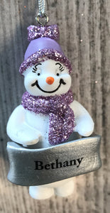 Cute Personalised Snowman Christmas Tree Decoration - Bethany