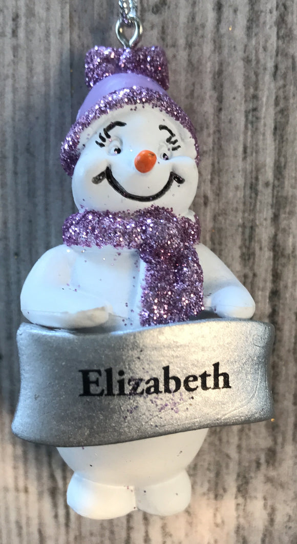 Cute Personalised Snowman Christmas Tree Decoration - Elizabeth