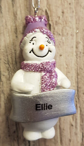 Cute Personalised Snowman Christmas Tree Decoration - Ellie