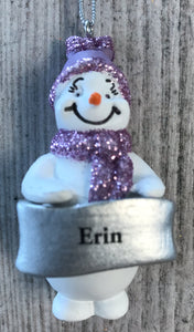 Cute Personalised Snowman Christmas Tree Decoration - Erin
