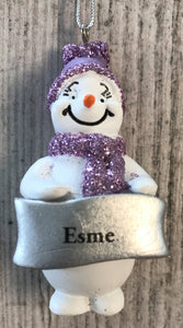 Cute Personalised Snowman Christmas Tree Decoration - Esme
