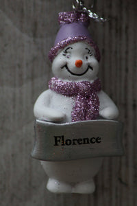 Cute Personalised Snowman Christmas Tree Decoration - Florence