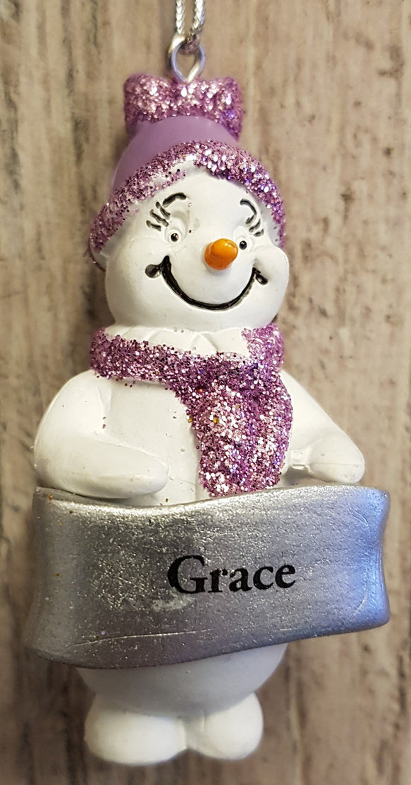 Cute Personalised Snowman Christmas Tree Decoration - Grace