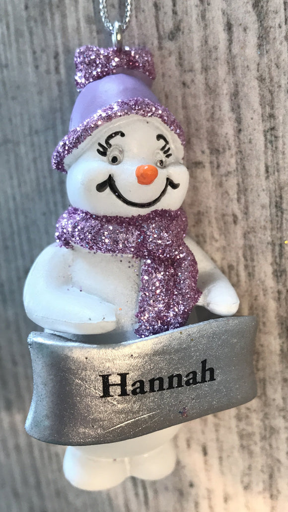 Cute Personalised Snowman Christmas Tree Decoration - Hannah