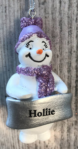 Cute Personalised Snowman Christmas Tree Decoration - Hollie