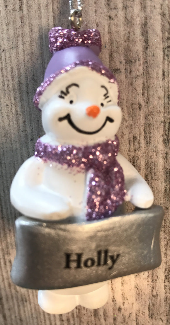 Cute Personalised Snowman Christmas Tree Decoration - Holly