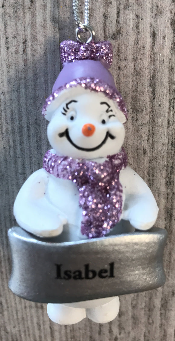 Cute Personalised Snowman Christmas Tree Decoration - Isabel
