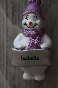 Cute Personalised Snowman Christmas Tree Decoration - Isabelle