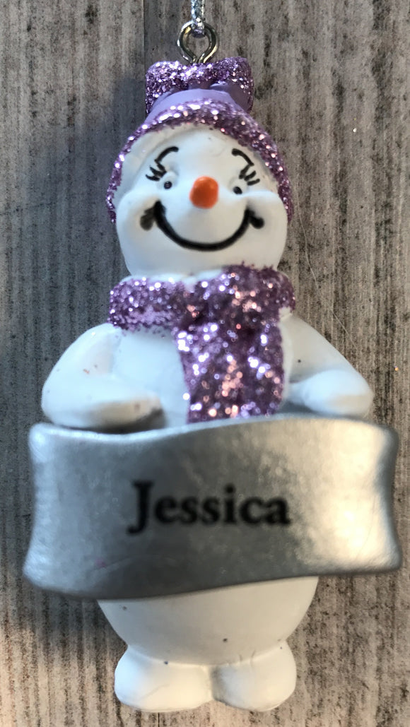 Cute Personalised Snowman Christmas Tree Decoration - Jessica