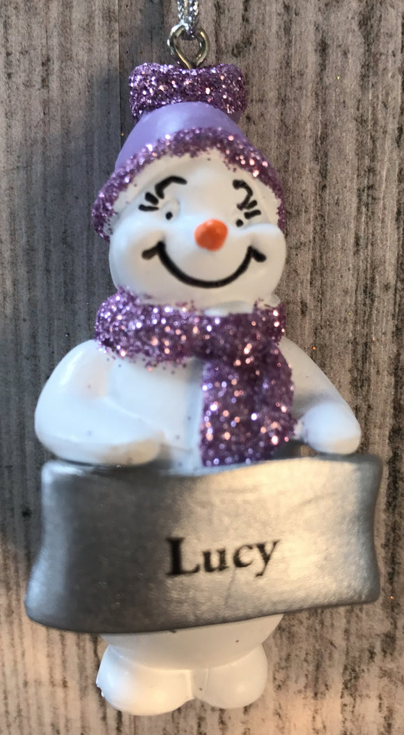 Cute Personalised Snowman Christmas Tree Decoration - Lucy