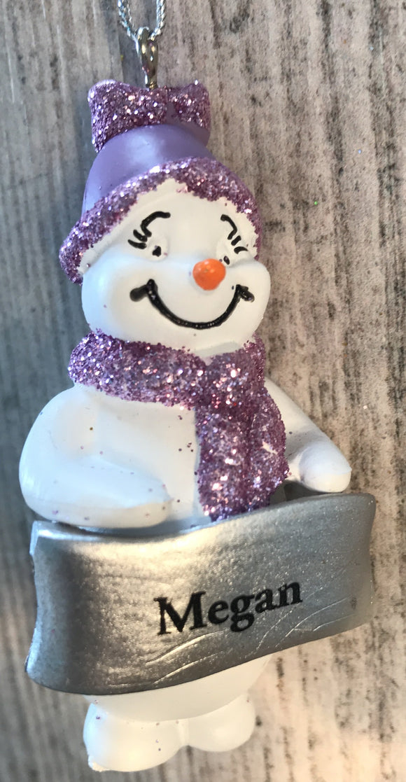 Cute Personalised Snowman Christmas Tree Decoration - Megan
