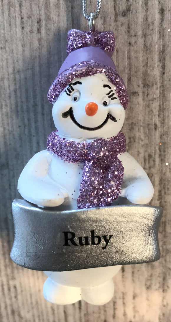 Cute Personalised Snowman Christmas Tree Decoration - Ruby