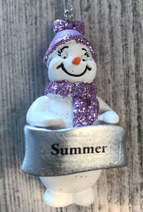 Cute Personalised Snowman Christmas Tree Decoration - Summer