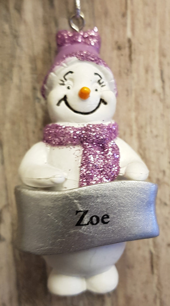 Cute Personalised Snowman Christmas Tree Decoration - Zoe