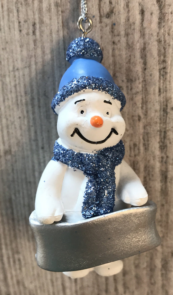Cute Personalised Snowman Christmas Tree Decoration - Any Name or Phrase - Blue Design