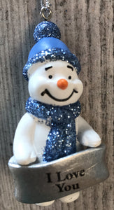 Cute Personalised Snowman Christmas Tree Decoration - I Love You
