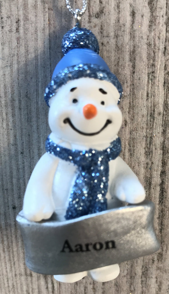 Cute Personalised Snowman Christmas Tree Decoration - Aaron