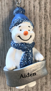 Cute Personalised Snowman Christmas Tree Decoration - Aiden