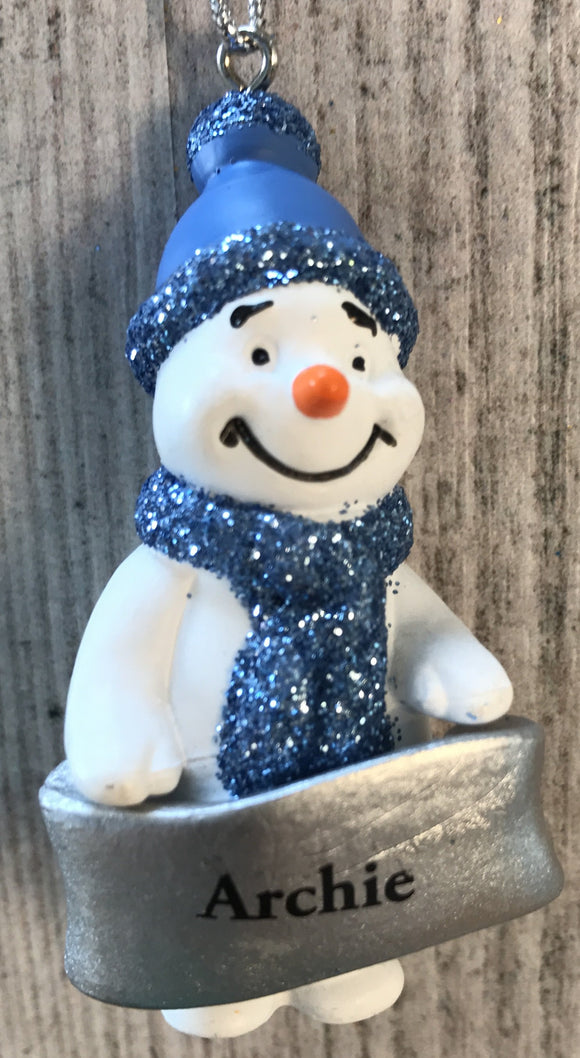 Cute Personalised Snowman Christmas Tree Decoration - Archie
