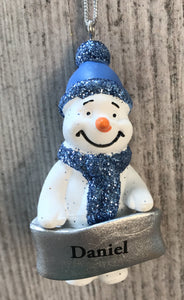 cute personalised snowman christmas tree decoration daniel