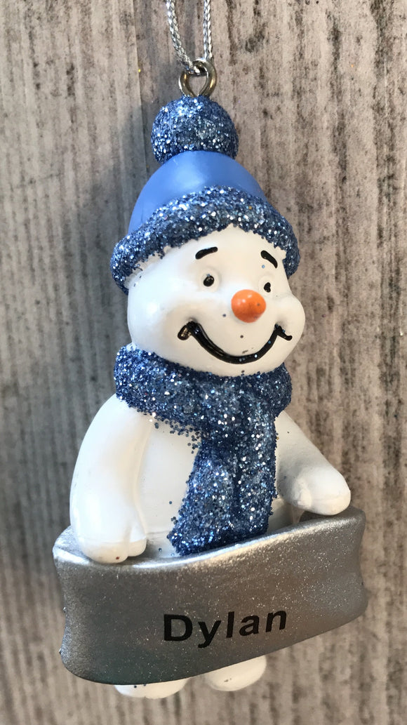 Cute Personalised Snowman Christmas Tree Decoration - Dylan