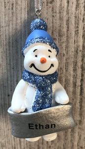 Cute Personalised Snowman Christmas Tree Decoration - Ethan