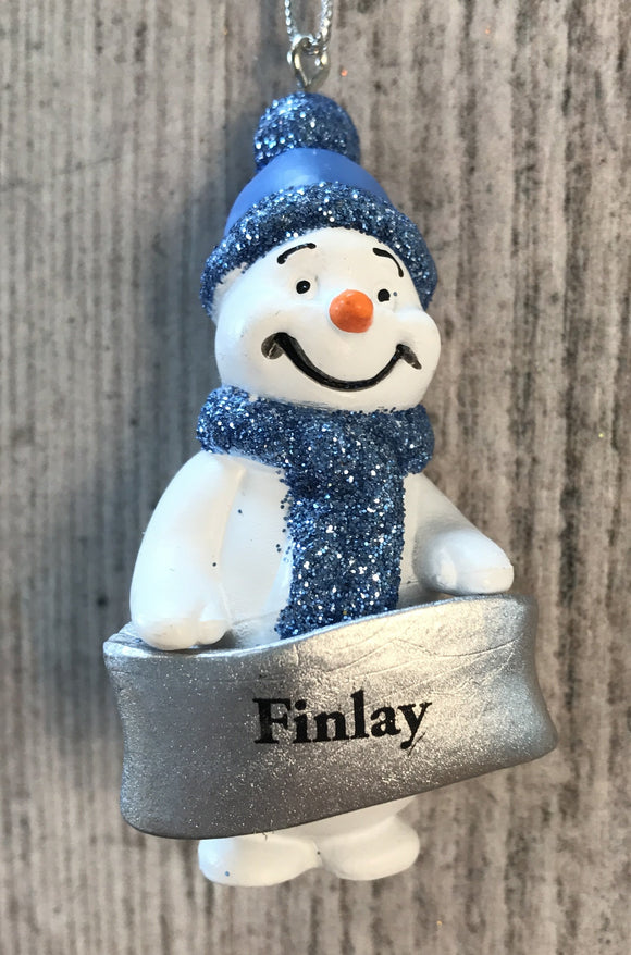 Cute Personalised Snowman Christmas Tree Decoration - Finlay
