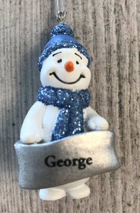 Cute Personalised Snowman Christmas Tree Decoration - George