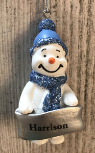 Cute Personalised Snowman Christmas Tree Decoration - Harrison
