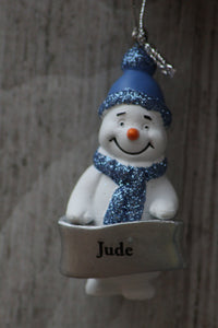 cute personalised snowman christmas tree decoration jude