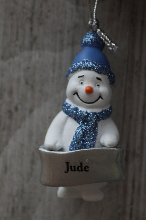 Cute Personalised Snowman Christmas Tree Decoration - Jude