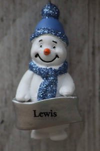 Cute Personalised Snowman Christmas Tree Decoration - Lewis