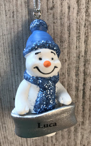 Cute Personalised Snowman Christmas Tree Decoration - Luca