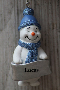 Cute Personalised Snowman Christmas Tree Decoration - Lucas